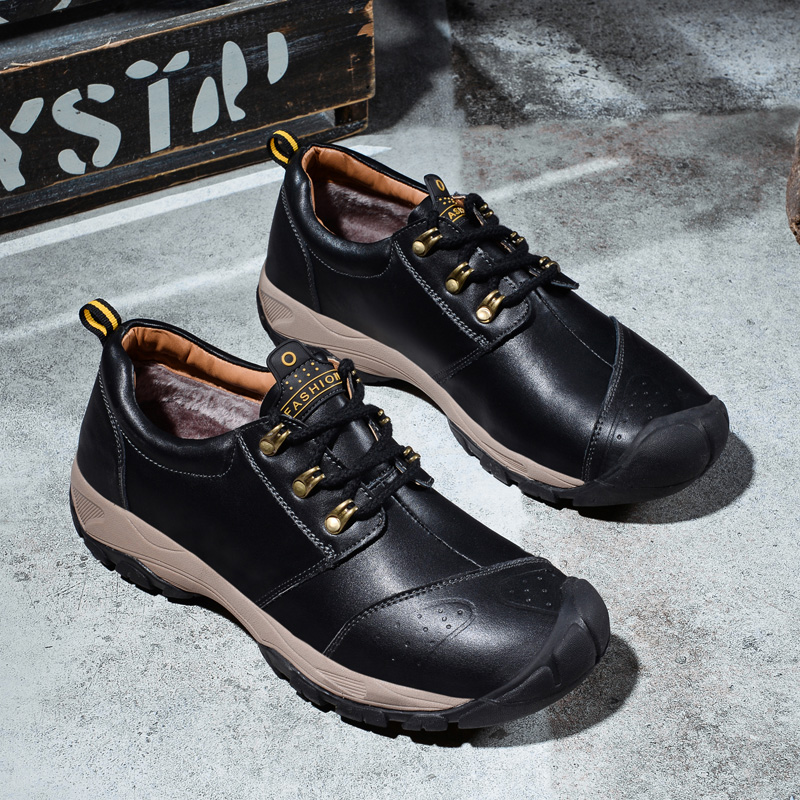 Fashion Men Shoes 2019 Casual Mens Leather Shoes Genuine Leather Winter Keep Warm Boots Male Platform Sneakers Best Quaity image