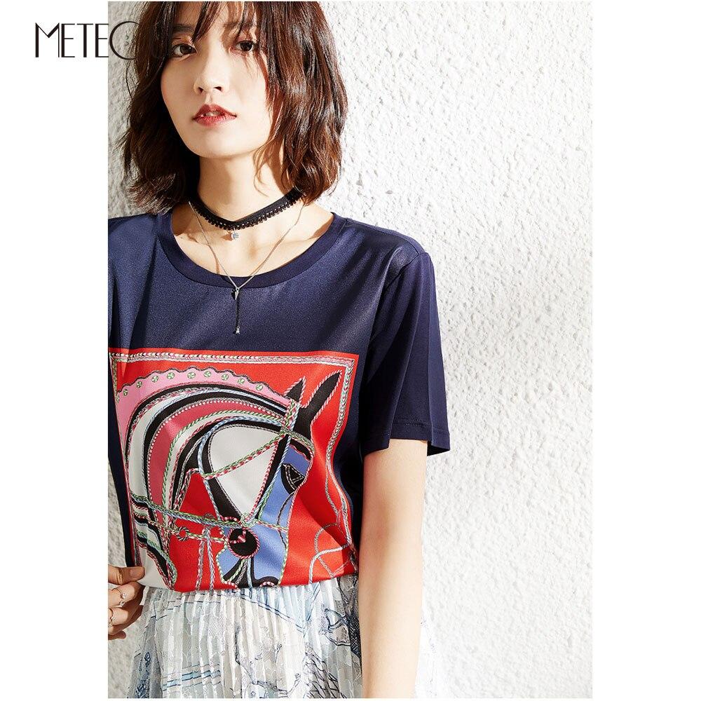 Silk Modal Patchwork Women Tee Shirt 2019 Spring Summer Fashion Horse Pattern Short Sleeve Women Summer