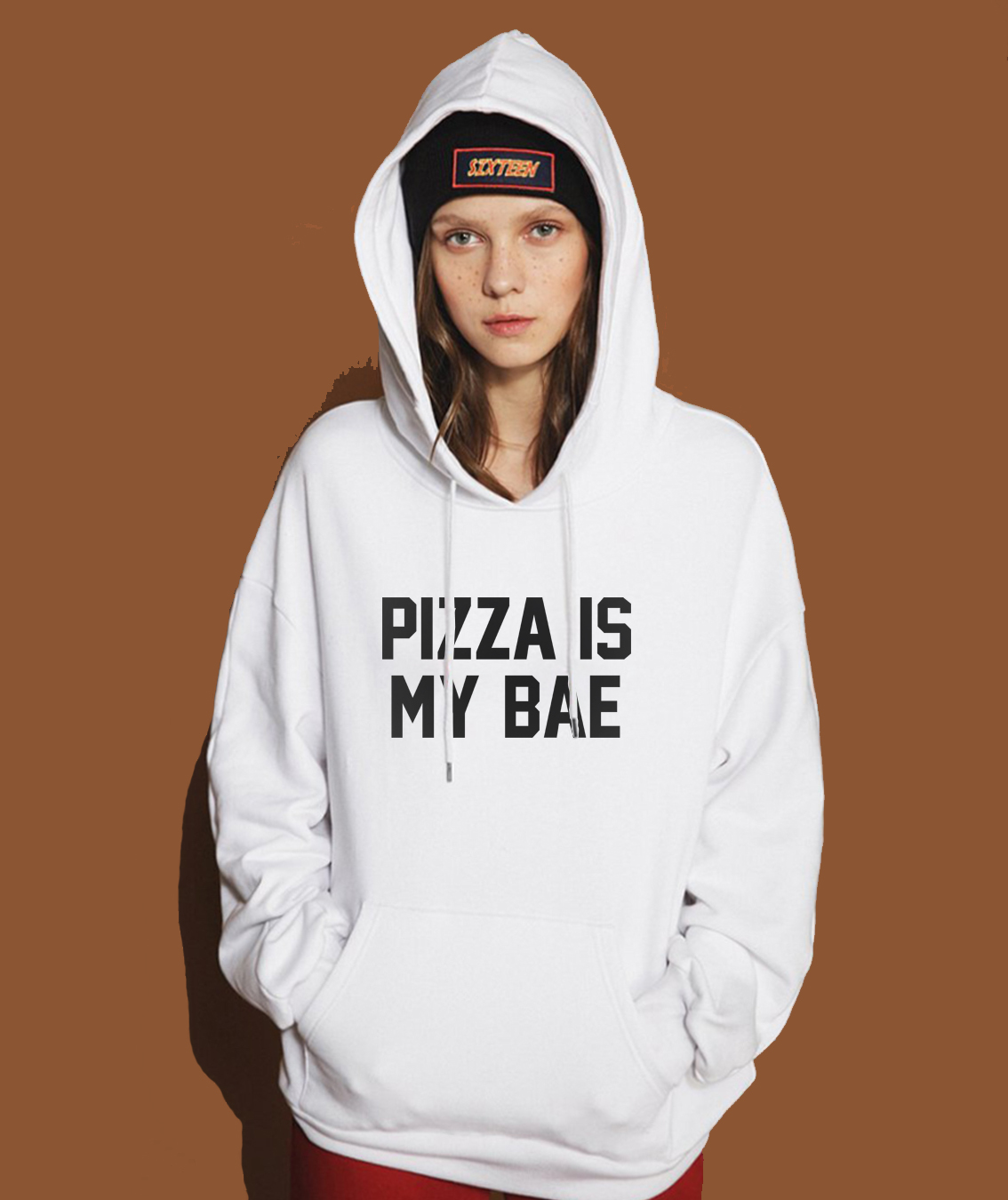 2019 Spring Winter Sweatshirt Hoody For Women Letter Print PIZZA IS MY BAE Funny Women's Hoodies Pullover Female Sweatshirts