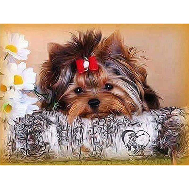 Diamond Painting Animals Dog Picture Rhinestone Full Square Diamond Embroidery Animals Yorkshire Terrier Mosaic Kit Crafts