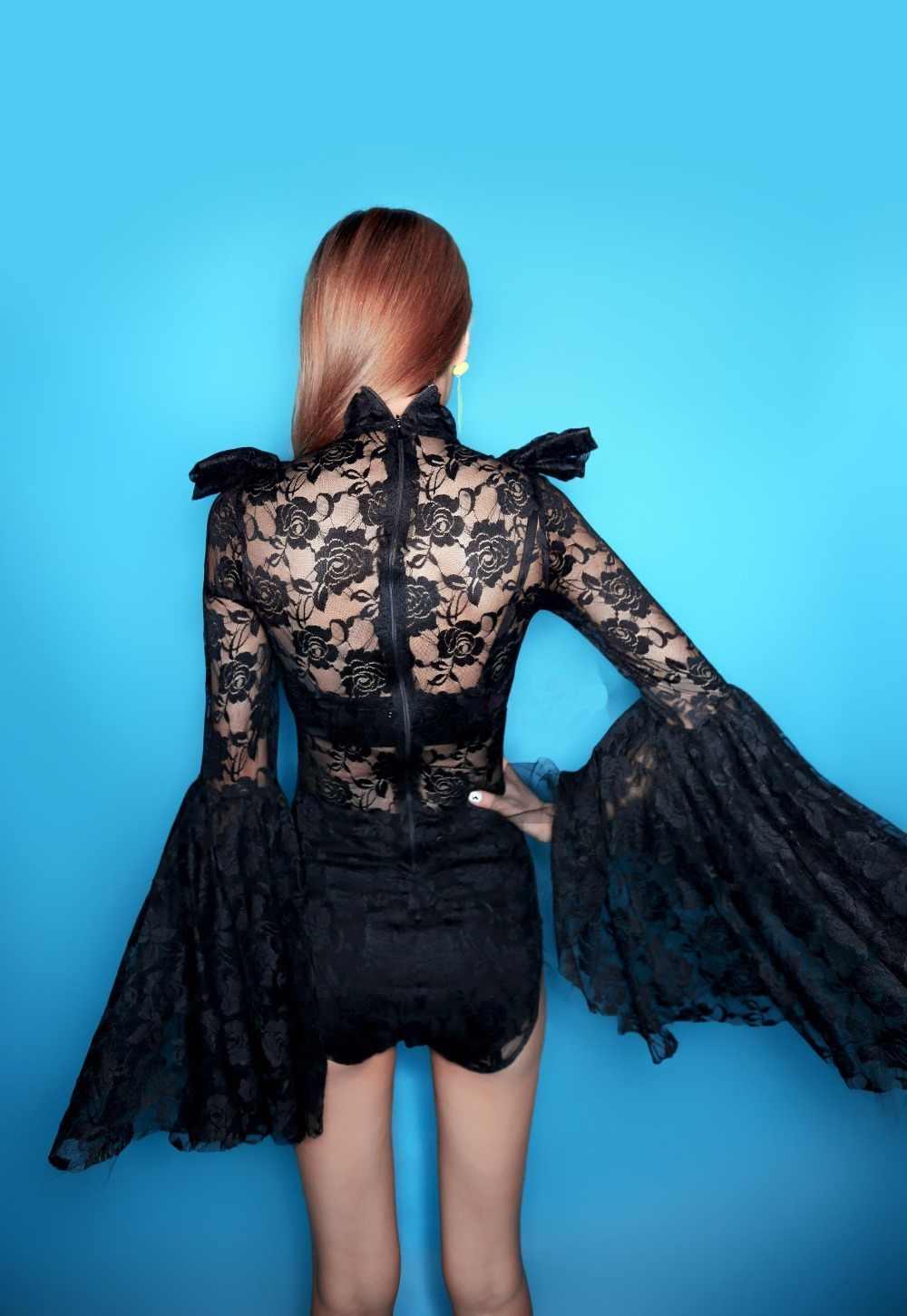 Сексуальное Черное Кружевное боди с рукавами-трубами Прозрачное платье для ночного клуба леди диджей певец танцор сценический костюм джазовый танцевальный шоу комбинезон
