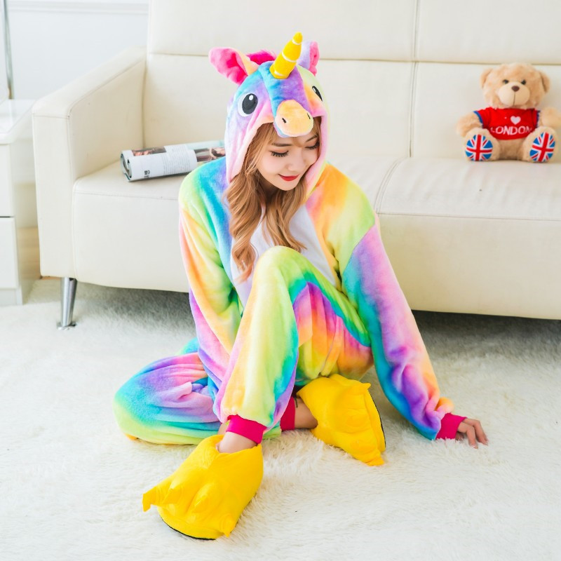 Wholesale Animal Unicorn Warm winter Adult Unisex Onesies Pajama Sets Halloween Pyjama Sleepwear Cosplsy Costume Kigurumi