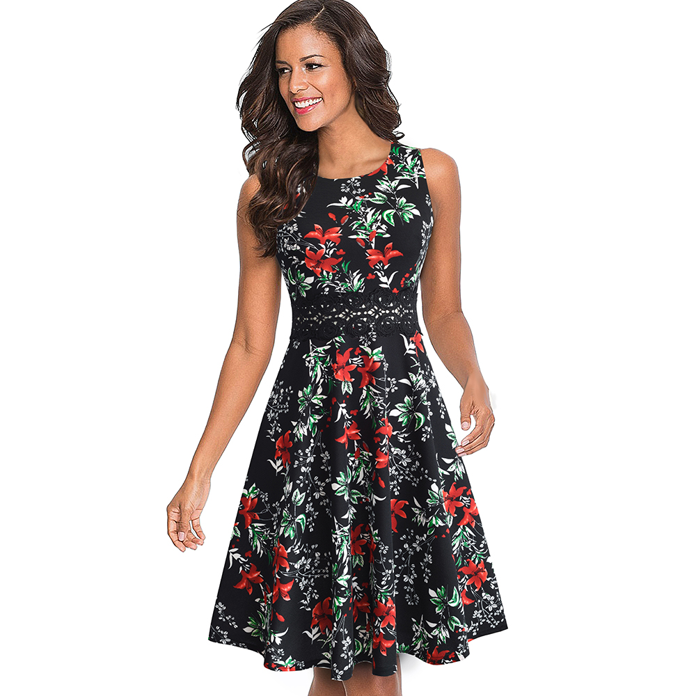 Nice-forever Vintage Elegant Embroidery Floral Lace Patchwork vestidos A-Line Pinup Business Women Party Flare Swing Dress A079 58