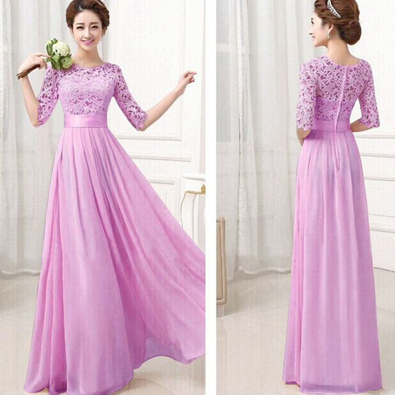 Plus size wedding party long dress women ladies mid sleeve for Plus size wedding party dresses