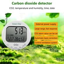 лучшая цена Digital CO2 Detector Air Quality Monitor Carbon Dioxide Sensor Temperature Humidity Gas Analyzer CO2 LCD Display Alarm