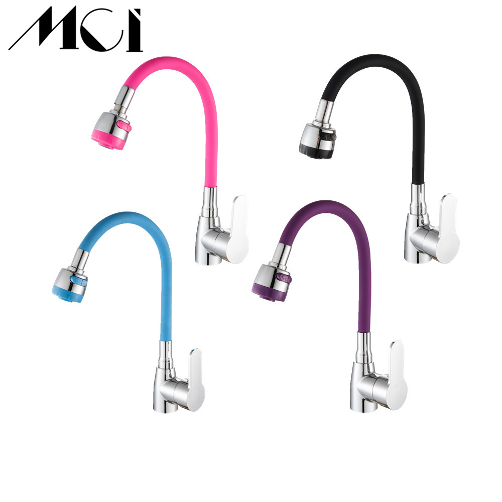Silica Gel Zinc Alloy Kitchen Faucet Any Direction Rotating Hot And Cold Water Tap Single Handle