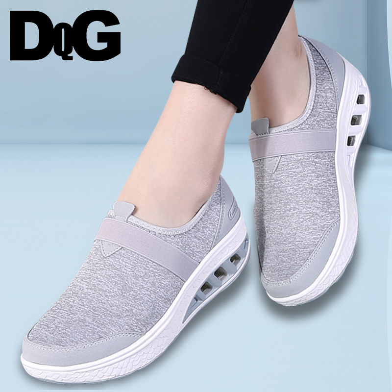 DQG 2018 Spring Women Shoes Casual Flat Platform Strech Fabric Slip On Zapatos Mujer Flats Shallow Summer chaussures Femme