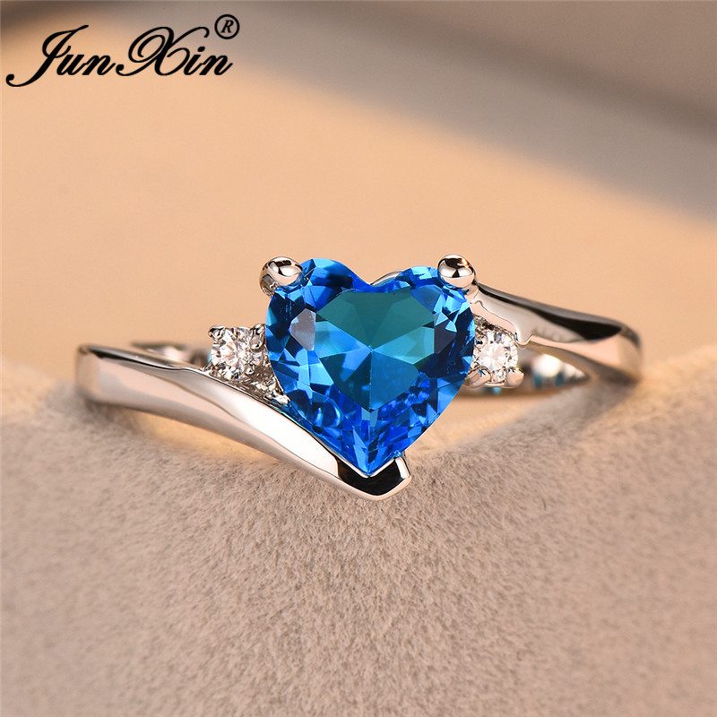 JUNXIN Blue Birthstone Heart Rings For Women White Gold Filled Purple Pink Black Zircon White Fire Opal Engagement Ring Female