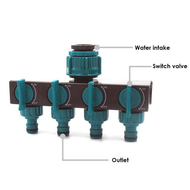 Garten Schlauch Splitter 4 Weg Kunststoff Schlauch Anschlüsse Wasser Distributor One pass vier tap wasserhahn wasser ventil bewässerung system A1