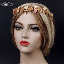 Chran Flower Wedding Bridal Tiara Gold Tone Crystal Rhinestone Crown Pageant Prom Veil Headband Hair Accessories Jewelry CRT702