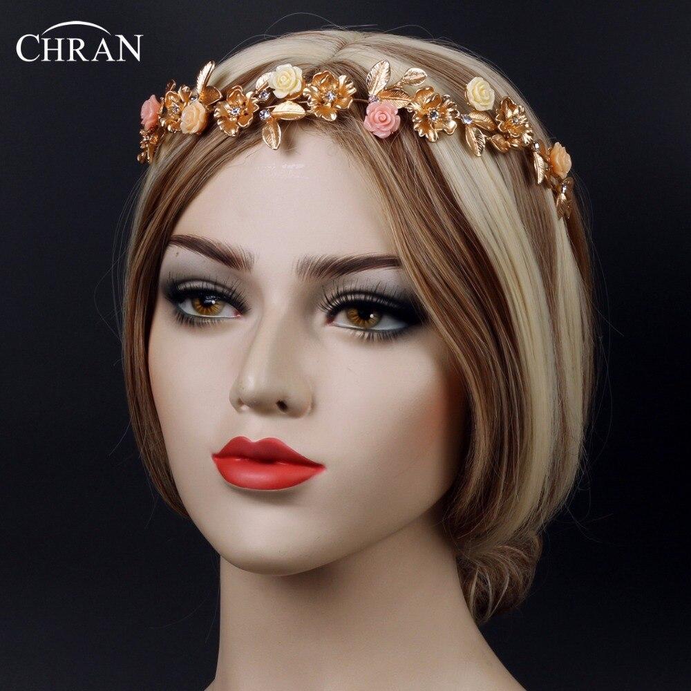 Bridal tiaras and veils - Chran Flower Wedding Bridal Tiara Gold Tone Crystal Rhinestone Crown Pageant Prom Veil Headband Hair Accessories