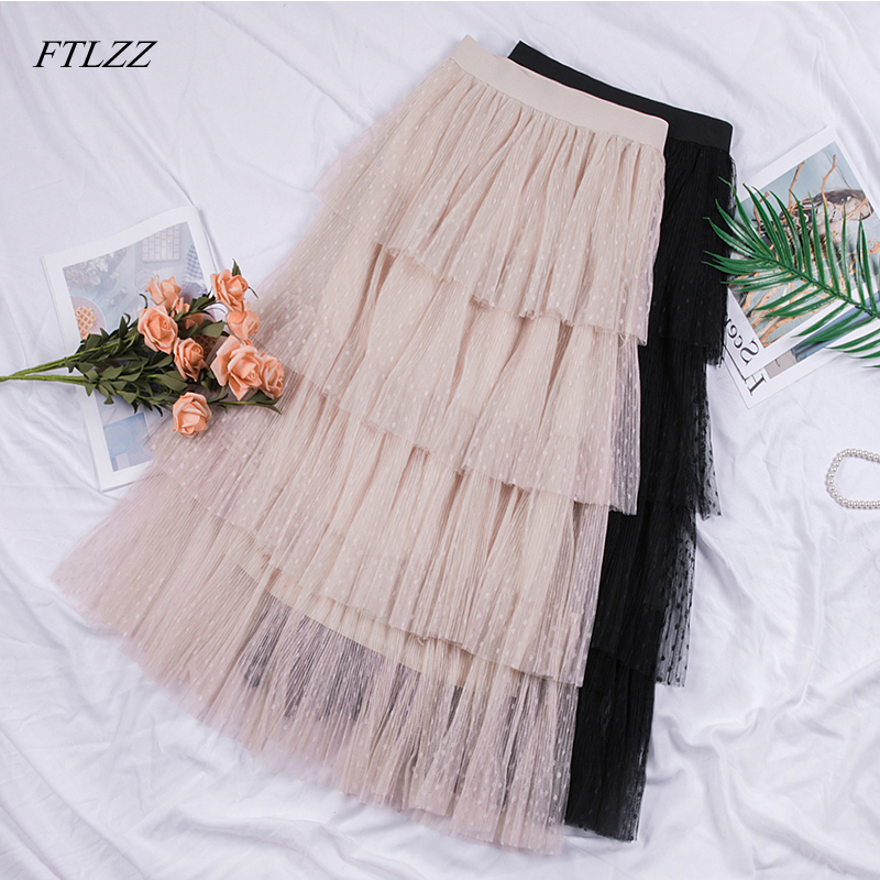 FTLZZ Women Sweet Ruffle Tulle Skirt High Waist Elegant Vintage Pleated Ins Skirts Candy Cakee Layered Maxi Long Skirt