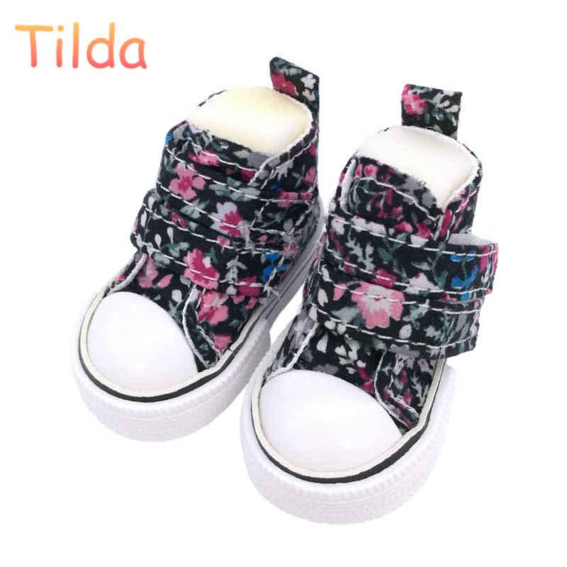 Тильда 5 см игрушки куклы обувь для тряпичных кукол, милые цветочные холщовые кроссовки 1/6 Bjd сапоги для шарнирного шарнира куклы высокого качества аксессуары
