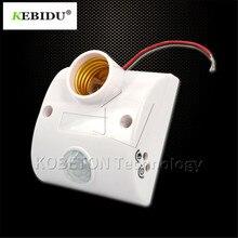 60802336d12 Kebidu Wall Lamp Holder Socket AC 110V 220V Automatic Human Body Infrared  IR Sensor LED Bulb Light E27 Base PIR Motion Detector