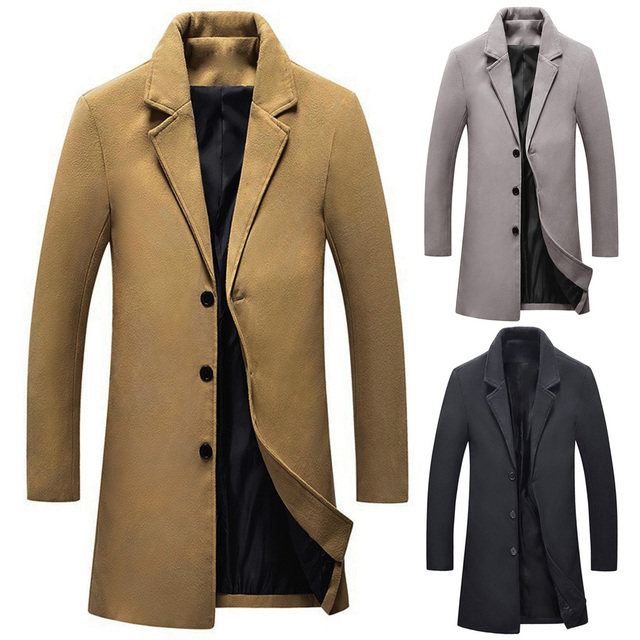 76025ef1f0f0a Men Wool Trench Coat Windbreaker 2018 Autumn Winter Woolen Long Coats  Outwear Fashion Brand Male Solid Slim Overcoat Office Wear