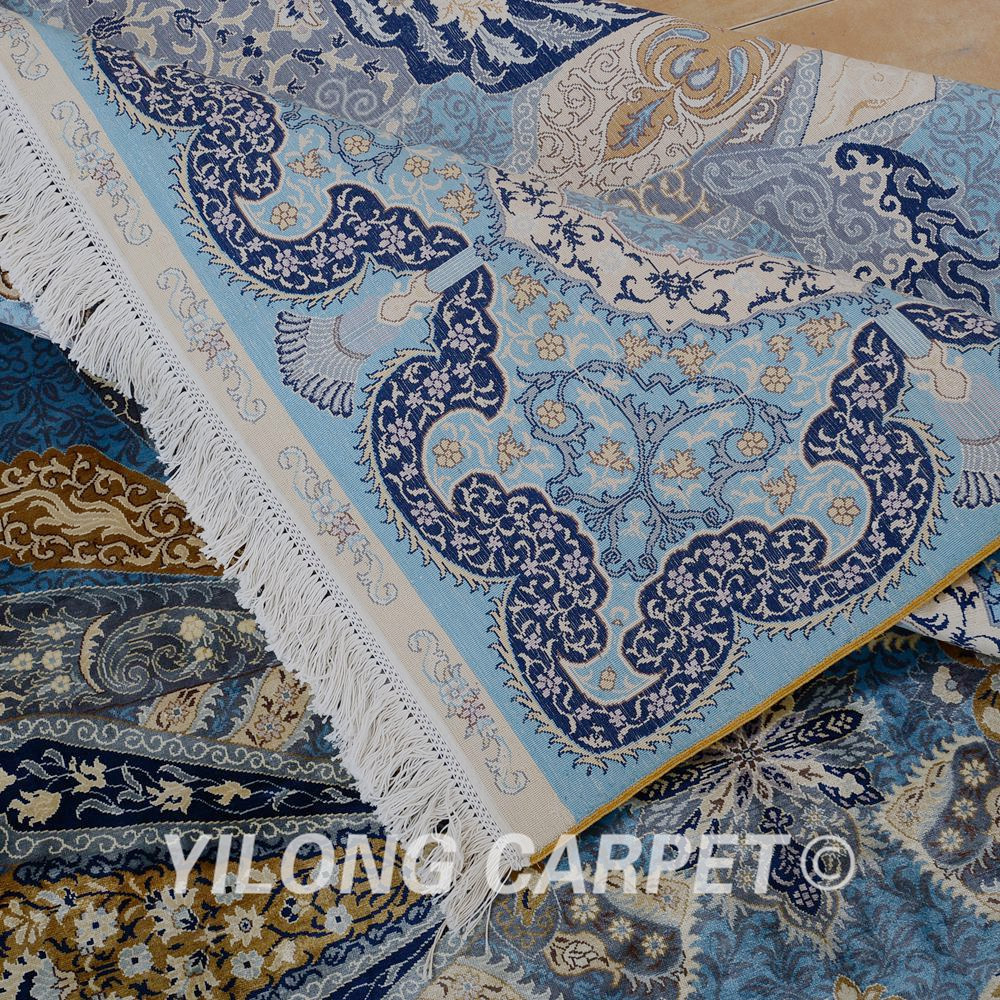 Yilong 6.56'x9.84 'hurtownia orientalny dywan niebieski iran qum - Tekstylia do domu - Zdjęcie 6