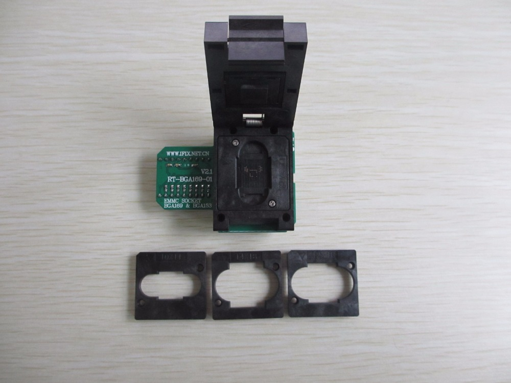 <font><b>BGA169</b></font> BGA153 adapter for RT809H Programmer eMMC socket <font><b>RT</b></font>-<font><b>BGA169</b></font>-<font><b>01</b></font>+4pcs free board limiters 11.5*13cm 10*11cm 12*16cm 14*18cm image
