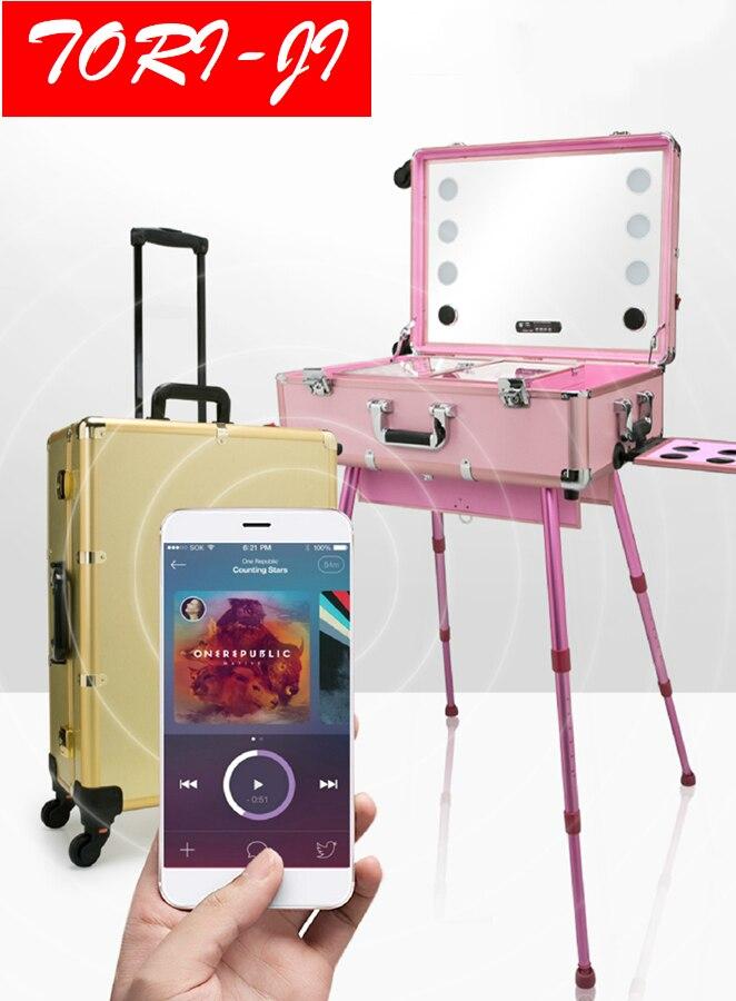 Tori-ji Bluetooth Studio Makeup Case with Light - Pro Makeup Station-Rolling Makeup Artist Cosmetic Case w/ 6x 40W LED Light недорго, оригинальная цена