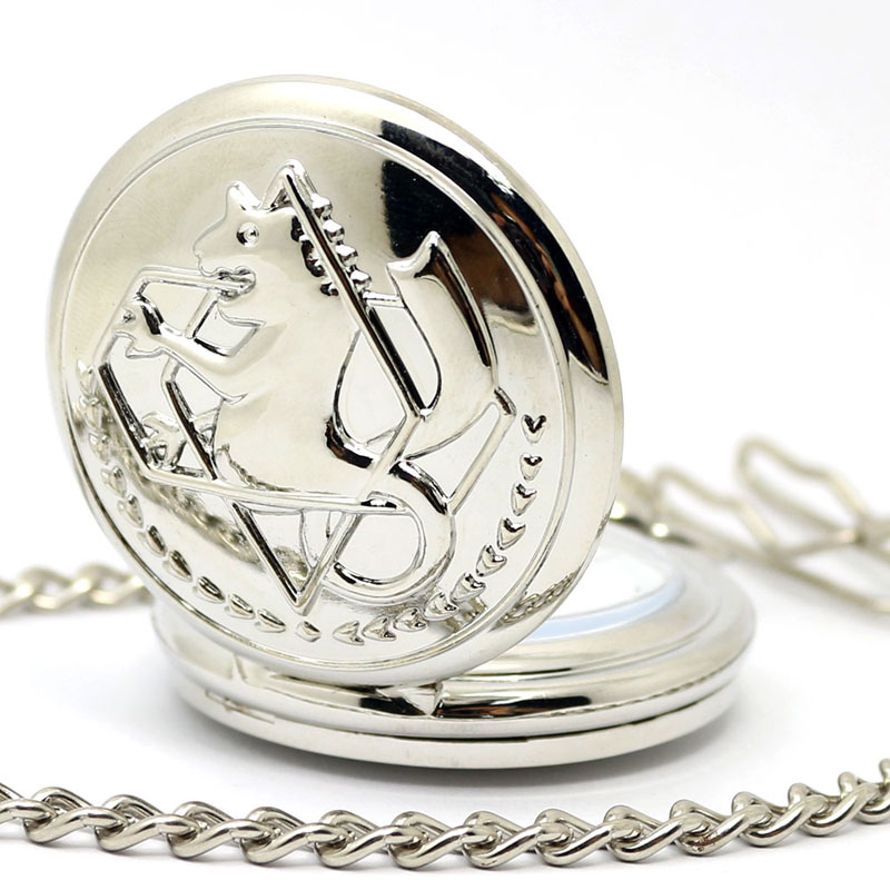 New Silver Case Fullmetal Alchemist Pocket Watch Cosplay Edward Elric with Big Chain Anime   boys Gift wholesale Price P423C anime fullmetal alchemist cosplay edward elric cos anime men and women backpack travel student campus birthday gift
