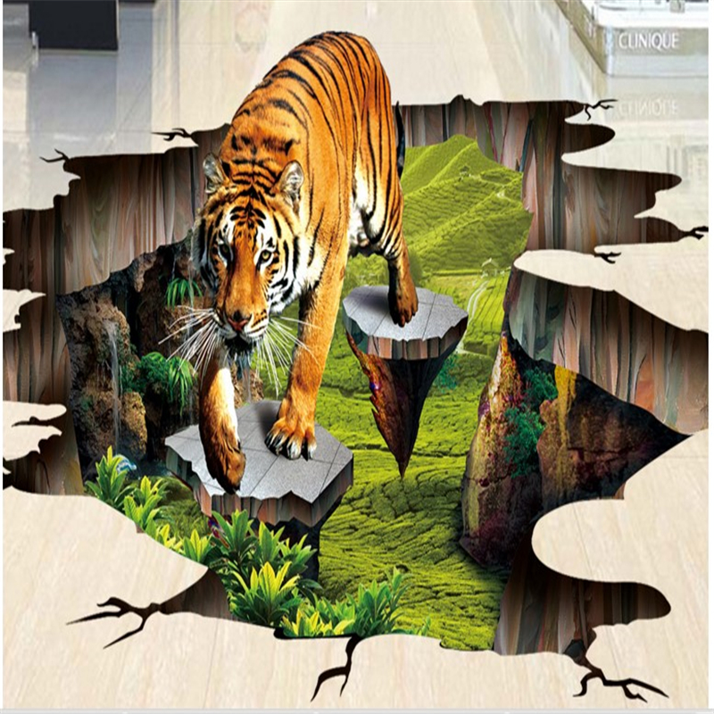 beibehang custom flooring stickers 3D Tigers outdoor painting waterproof thick wall tiles three-dimensional painting аксессуар bosch tassimo 574958