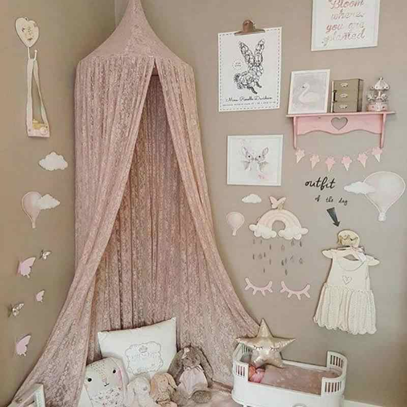 Nordic Nursery Room Hanging Lace Bed Canopy Ins Style Dome Hanging Mosquito Net For Kids Girls Room Fairytale Decoration