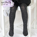 Spring baby girls' cotton tights children bling shiny pantyhose stockings bottoming