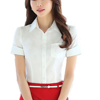 Summer Blouses For Woman Office Shirts Solid Short Sleeve Turn Down Collar Women Tops OL Ladies Blouse Big Sizes Chemise Femme