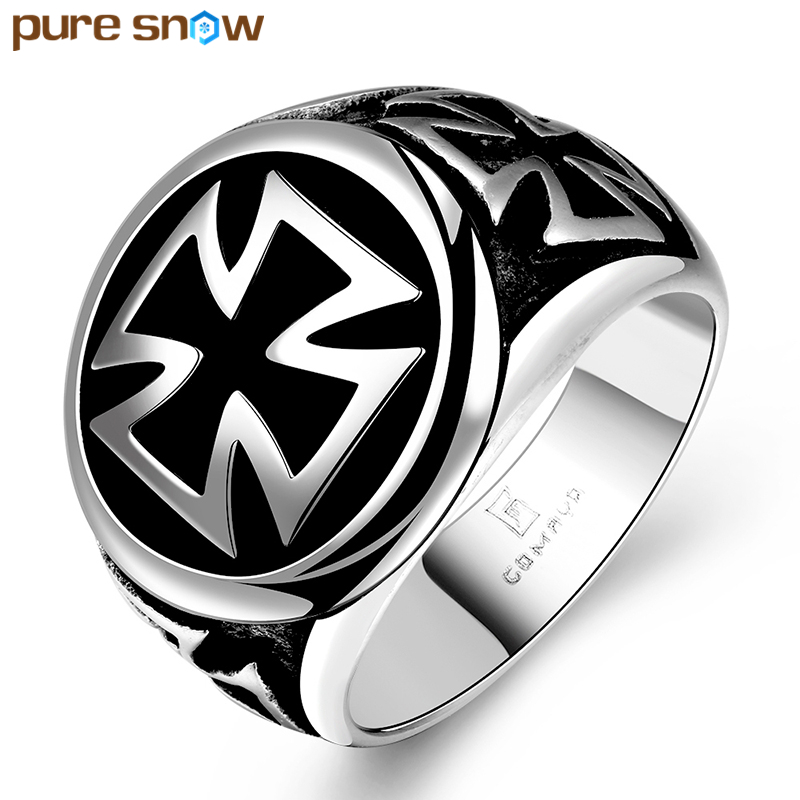 Pure Snow High Quality 316L Titanium Steel Cross Rings For Punk Black Sliver Plated Male Skull Ring