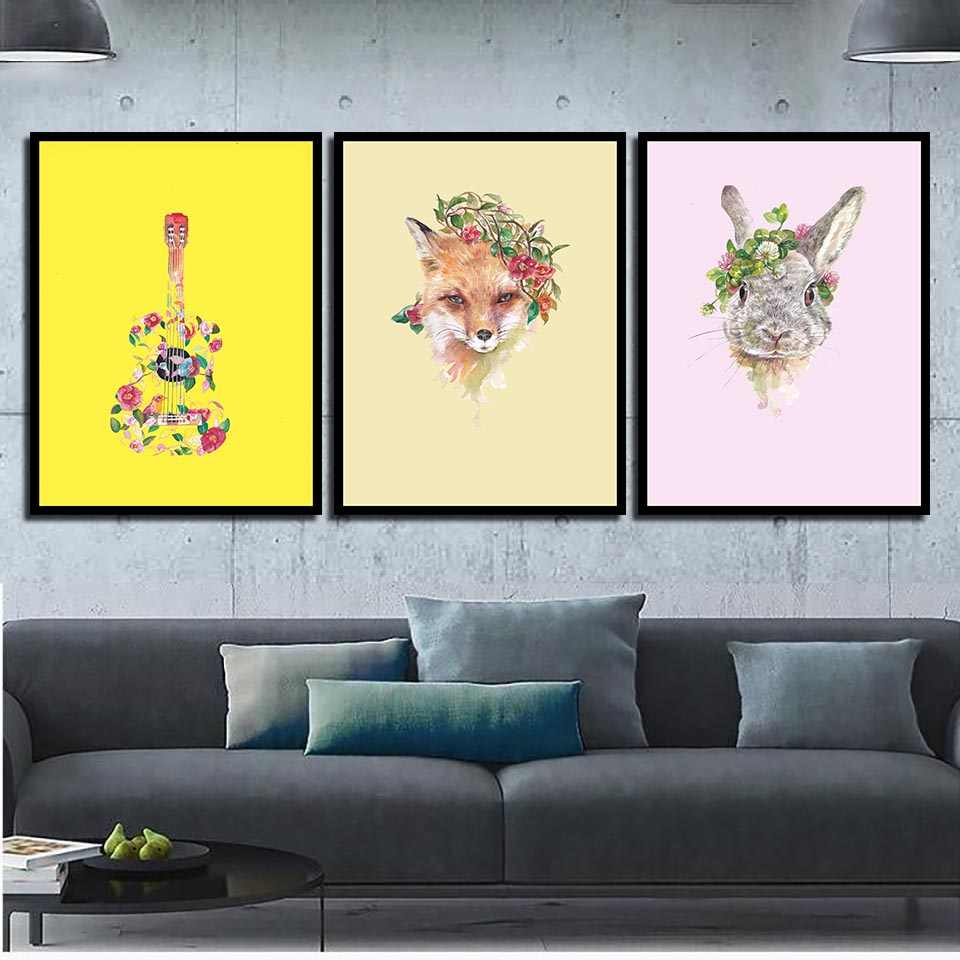 Minimalist Nordic Style Canvas Painting Abstract Guitar Fox Rabbit Poster HD Prints Art Flowers Wall Pictures Home Decor Framed