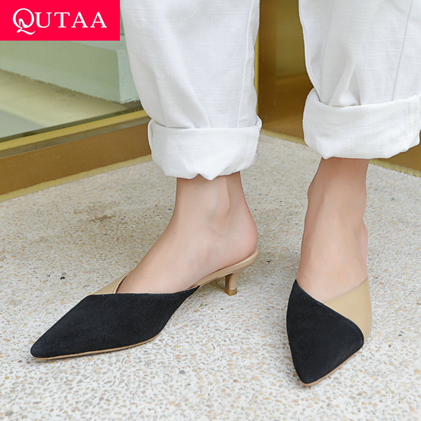 QUTAA 2019 Women Sandals Thin Middle Heel Mixed Color Cow Leather Fashionable Pointed Toe Slingback Elegant Shoes Size 34-40QUTAA 2019 Women Sandals Thin Middle Heel Mixed Color Cow Leather Fashionable Pointed Toe Slingback Elegant Shoes Size 34-40