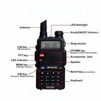 מכשיר הקשר 2X5W DTMF מכשיר הקשר Retevis RT-5R Portable Ham Radio 128CH UHF / VHF רדיו שני הדרך רדיו Hf Trasceiver 1800mAh סוללה EEShip (3)