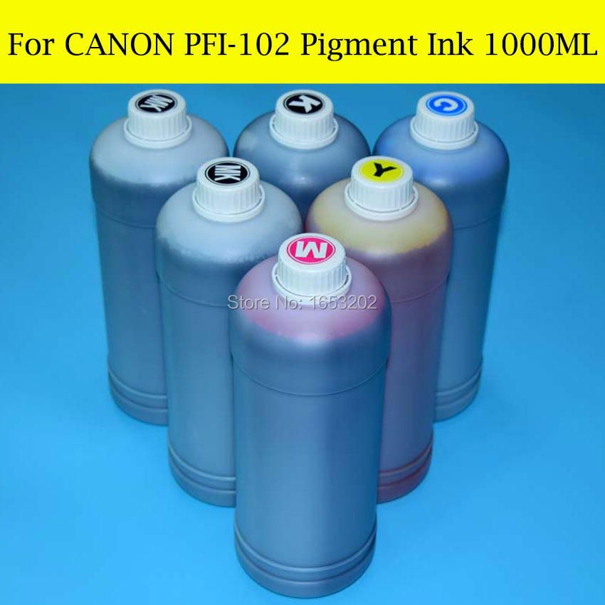 6 PC X 1000ML For Canon PFI102 Pigment Ink For Canon iPF 500 510 600 605