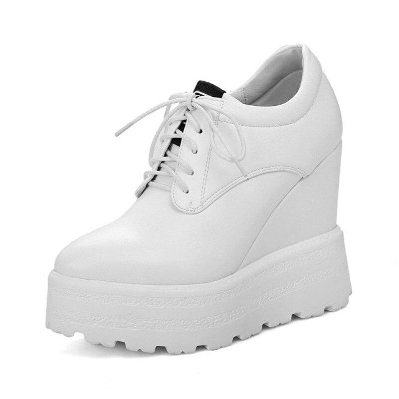 Dentelle Chaussures Femmes Hauts En white forme Plate Grande Femme Taille 42 Dames black Wedge Printemps Casual Automne Pour Cuir Talons Up Beige qxwxFtTg