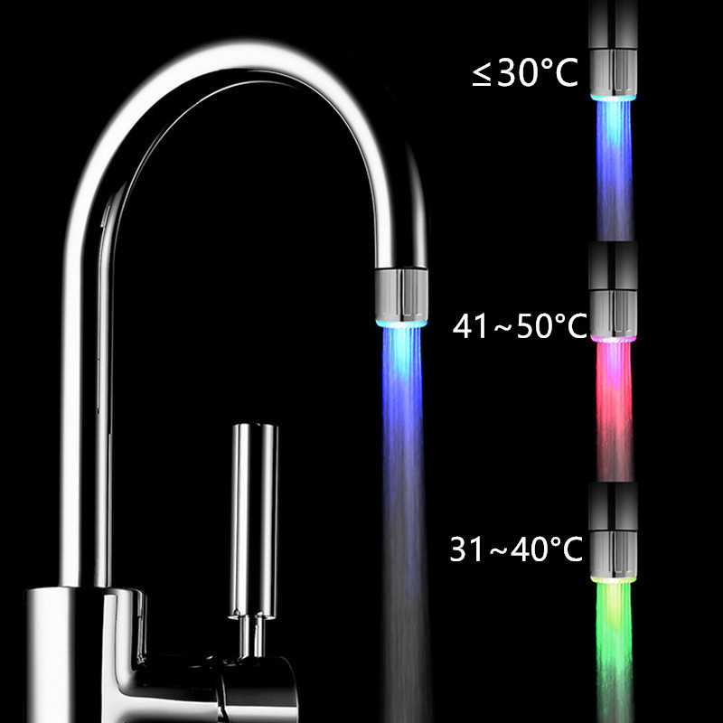 Temperature Sensor Intelligent Recognition Temperature Different Temperation Different LED Light Color Water Tap Faucet Shower