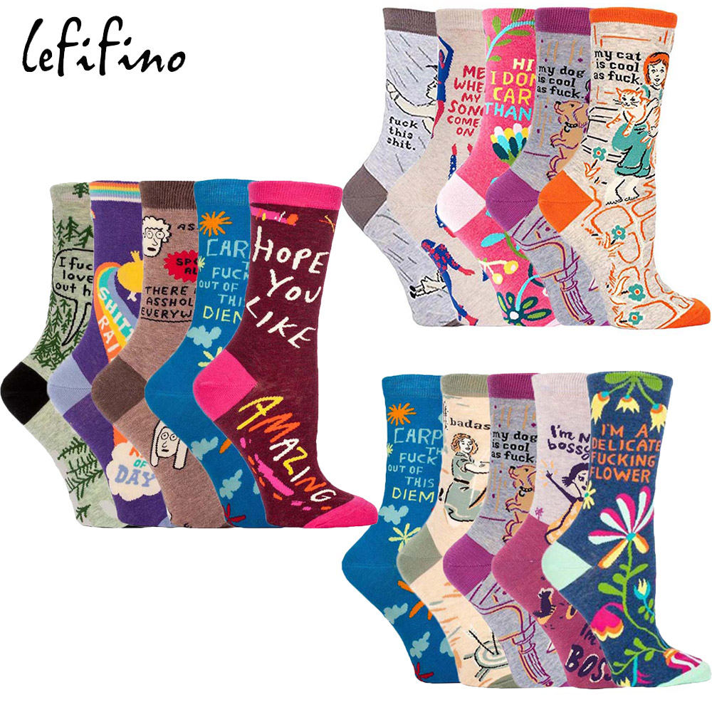 Fashion Women New Happy Funny Socks Cotton Colorful Crazy Cartoon Amazing Fun Socks Teen Girls Short Socks Cool Fancy Funky Sox