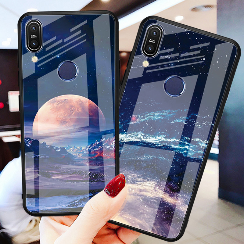 Tempered Glass Phone Case For Asus Zenfone Max Pro M1 ZB602KL ZB601KL M2 ZB631KL ZB633KL Flamingo Owl Sky Pattern Cover Coque