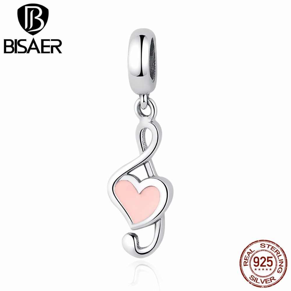 100% 925 prata esterlina rosa coração pingente música nota encantos apto bisaer pulseiras moda feminina jóias diy ecc110
