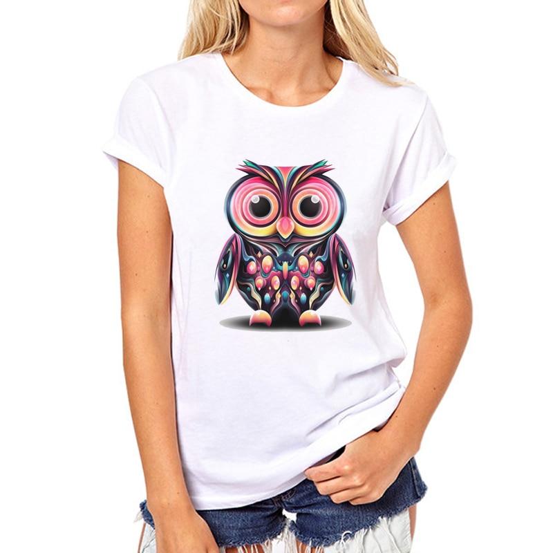 Women Owl Animal T-Shirt 2019 Summer Short Sleeve Printed Retro T Shirt Owl And Eye Girl T Shirts Tee 39W-5#