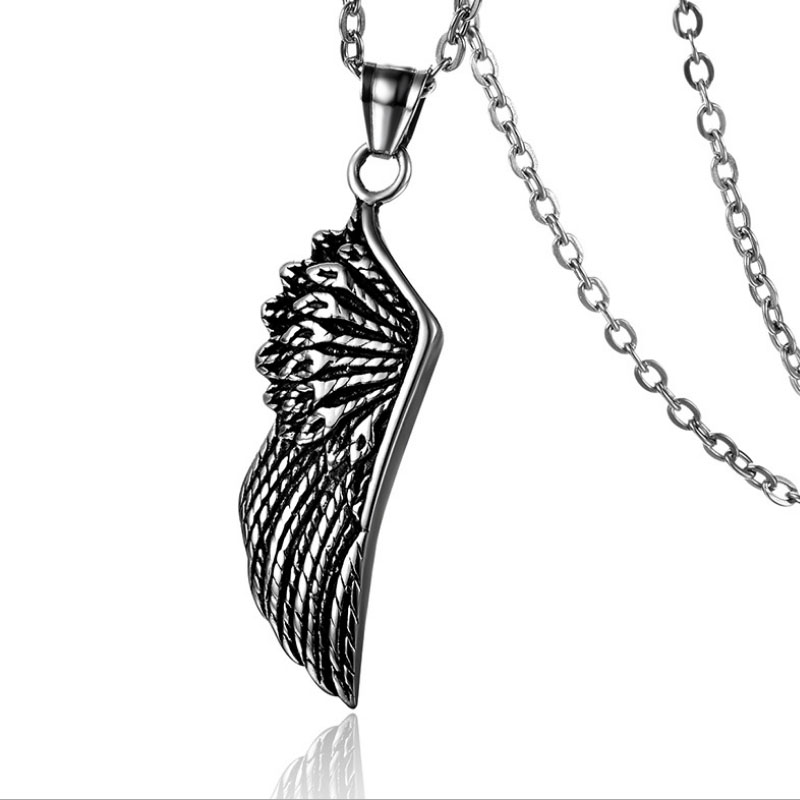 Vintage Feather Angel Wing Pendants Necklace Stainless Steel Men Cool Jewelry UK