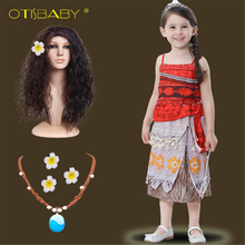 pamaba kids moana adventure costume girls dress summer clothes princess vaiana clothing set children birthday cosplay dress up Girls Moana Costume Kids Princess Adventure Halloween Cosplay Outfit Children Summer Birthday Party Dress Up Moana Necklace Wig
