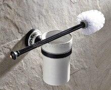 Вспомогательное Оборудование ванной комнаты Настенный Черный Масло Втирают Бронзовый Ванная Комната Держатель Для Туалетной Щетки Набор Wba292