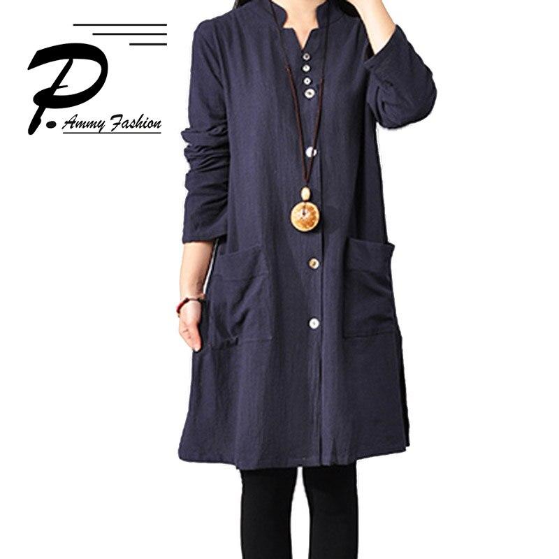 Для женщин Сплошной Цвет хлопок и лен одежда с длинным рукавом средней длины блузка длинная туника плюс размер рубашки