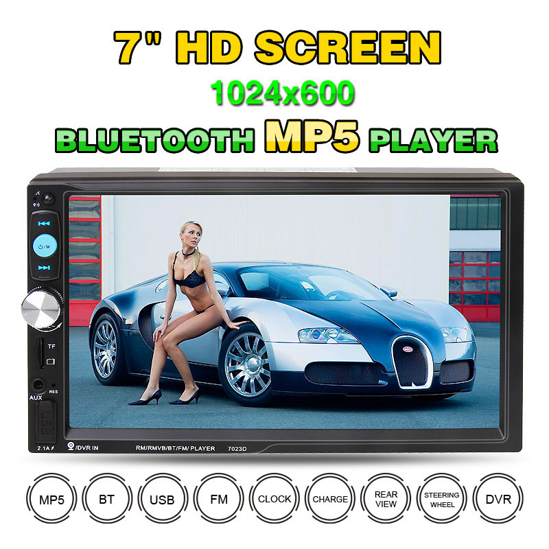 7023D 7 Inch 2 DIN 1024*60 Bluetooth HD Car Stereo Audio MP5 Player with Card Reader FM Radio Fast Charge Support USB/ AUX / DVR 2017 7023d double 2din car radio 7 bluetooth hd card reader radio fast charge car stereo audio mp5 player without rear camera