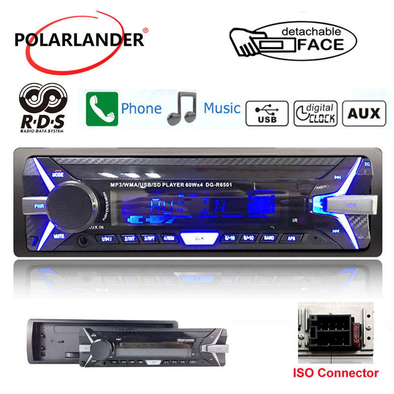 Autoradio 3.5 Inch Detachable Panel car radio 1 Din Audio Radio AM FM TF/USB 12V MP3 Stereo RDS+ Bluetooth radio cassette player Car Radios     - title=