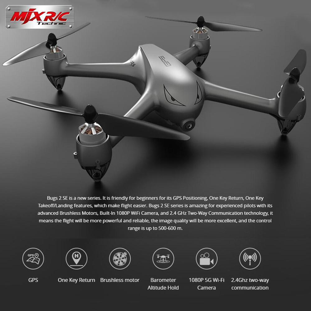Oyuncaklar ve Hobi Ürünleri'ten RC Helikopterler'de MJX B2SE 5G RC dört pervaneli helikopter WiFi FPV 1080P Kamera GPS Konumlandırma Fırçasız Irtifa Tutun RC Drone RTF Takip Bir anahtar 3 Piller'da  Grup 2