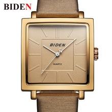 BIDEN Men Wristwatches Luxury Brand Quartz Watch Unique Clock Man Leather Fashion Business Male Watches Top  Brand  reloj hombre цены