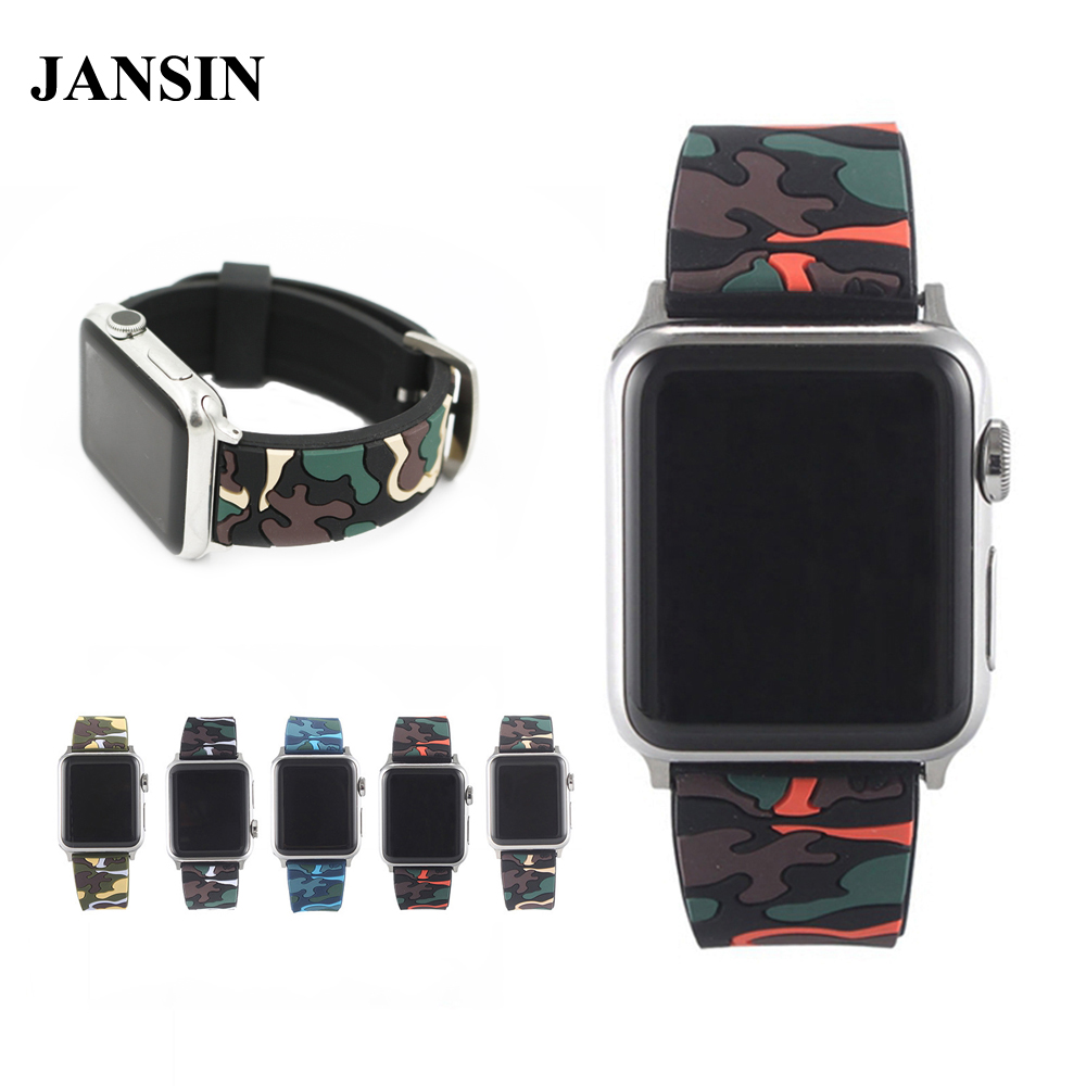 JANSIN Camo sport band for apple watch series 3 2 1 Soft Silicone strap For apple watch band 38mm 42mm link Bracelet Wristband цена