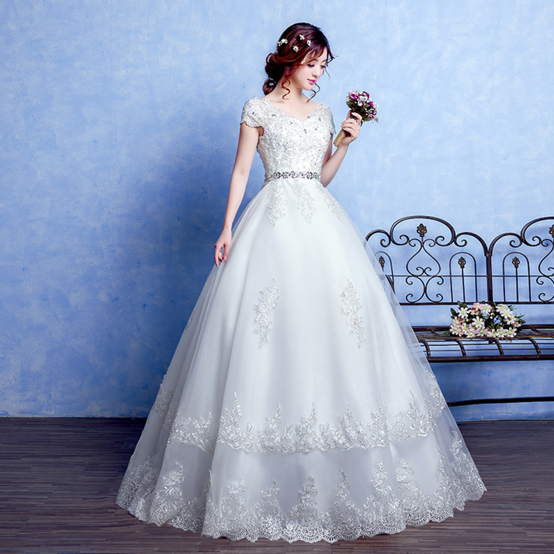 New 2017 princess wedding dress with short sleeves bridal for Online wedding dress stores