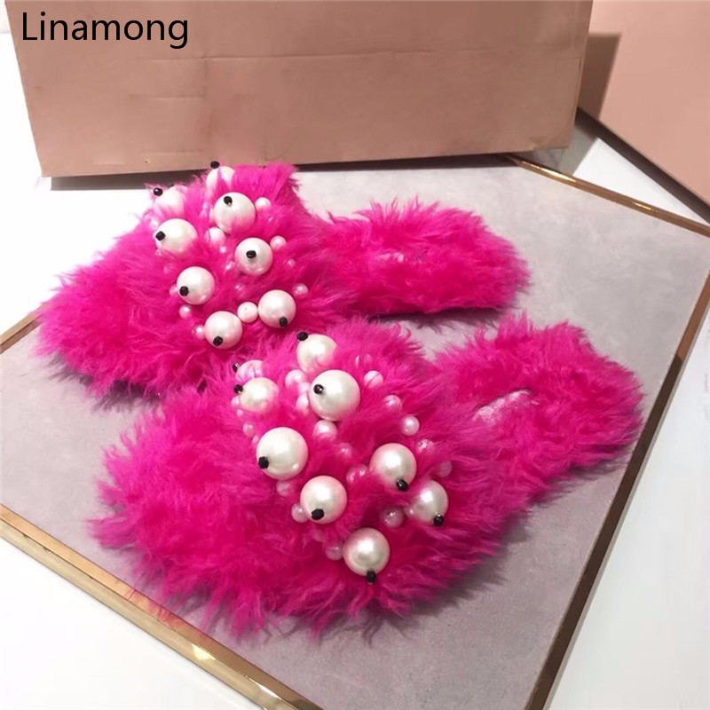 Pre-Fall Women Flat Heels Sandals European Style Beading Decorated Home Slides Fur Slippers Slip on Opening Toe Sandalias Mujer rose decorated toe post flat sandals