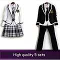 British korean japanese school uniform men and women winter clothing for school uniforme escolar costume for girl and boy 5 sets